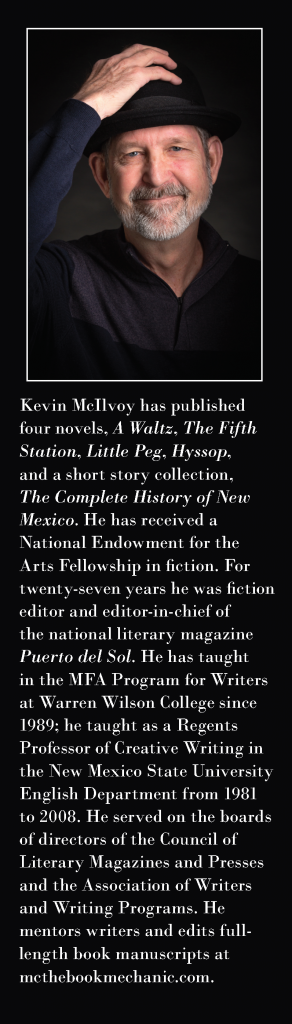 "Bio from book jacket cover - back - describing Kevin ""Mc"" McIlvoy and his work"